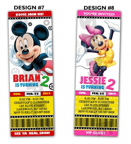 Mickey Mouse Ticket Invitations