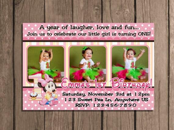 Minnie Mouse Editable 1st Birthday Invitation
