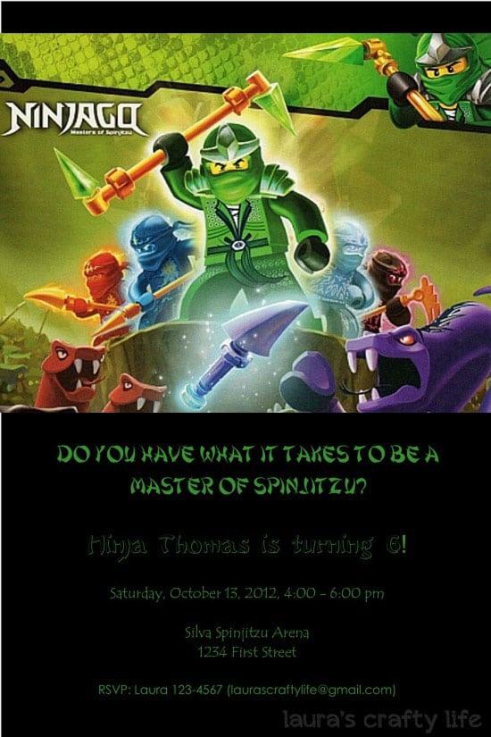 Ninjago Party Invitation Template Free