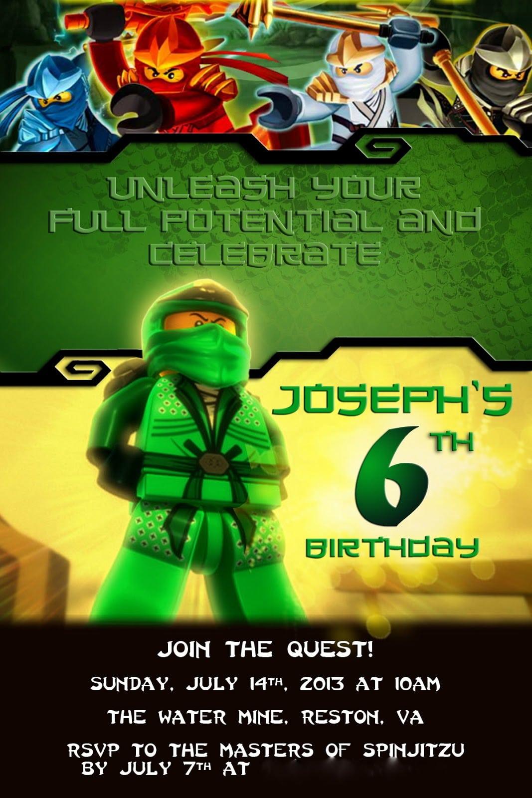 Ninjago Party Invitations Uk
