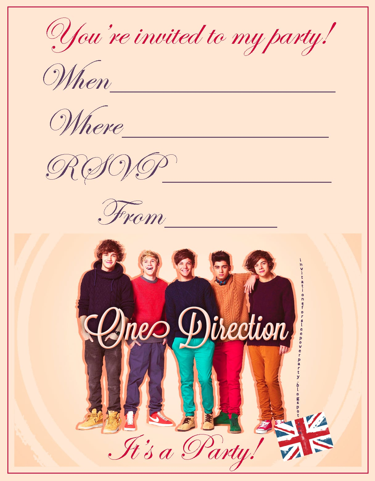 One Direction Invitations Printable Free