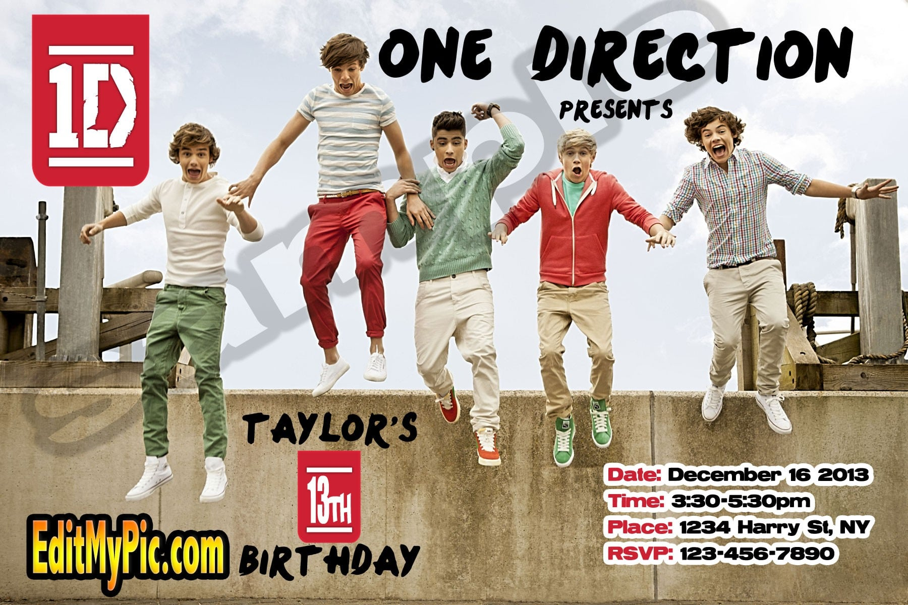 One Direction Printable Birthday Invitation