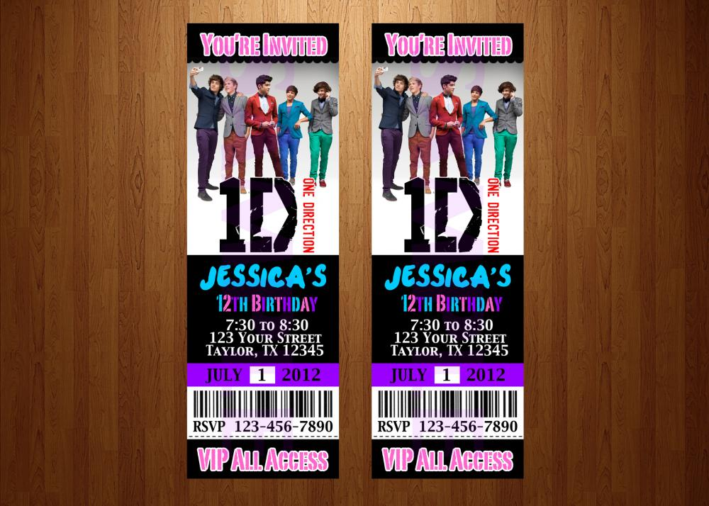 One Direction Ticket Invitations Printable Free