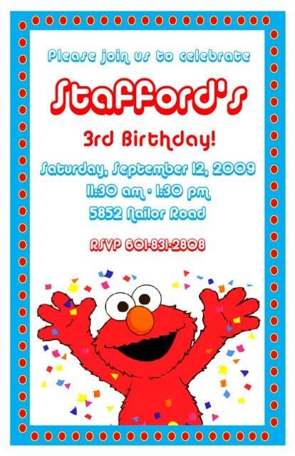 Personalized Elmo Photo Invitations