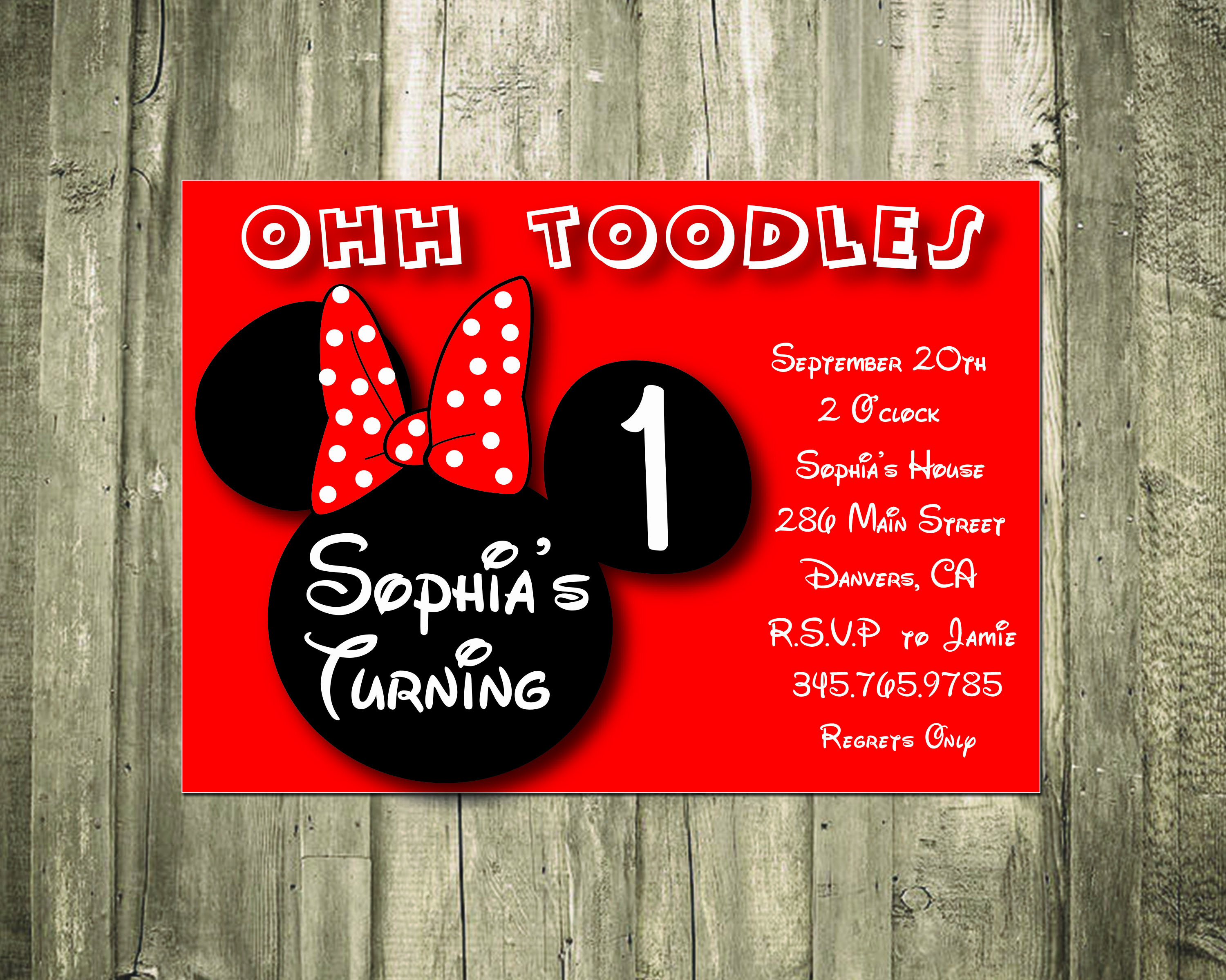 Personalized Minnie Mouse Party Invitations