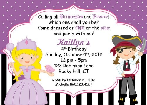 Pirate And Princess Party Invitation Free