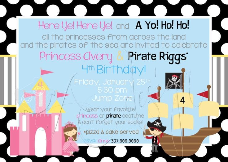 Pirate And Princess Party Invitations Free