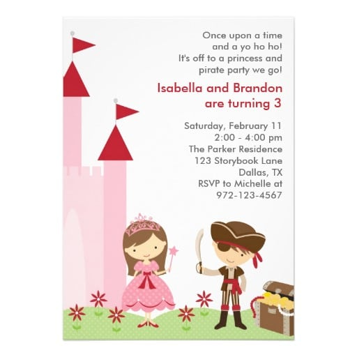 Pirate And Princess Party Invitation Free - Party invitation template: princess party invitation template