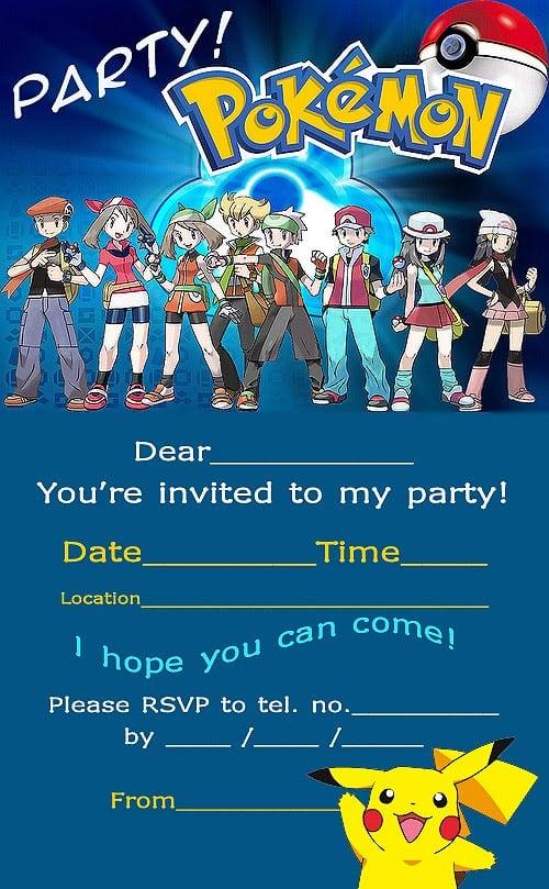 Pokemon Birthday Invitations Printable Free