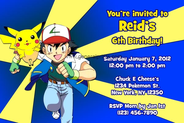 Pokemon Invitations Printable Free