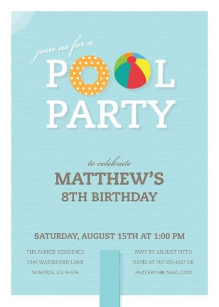 Pool Birthday Party Invitation Template