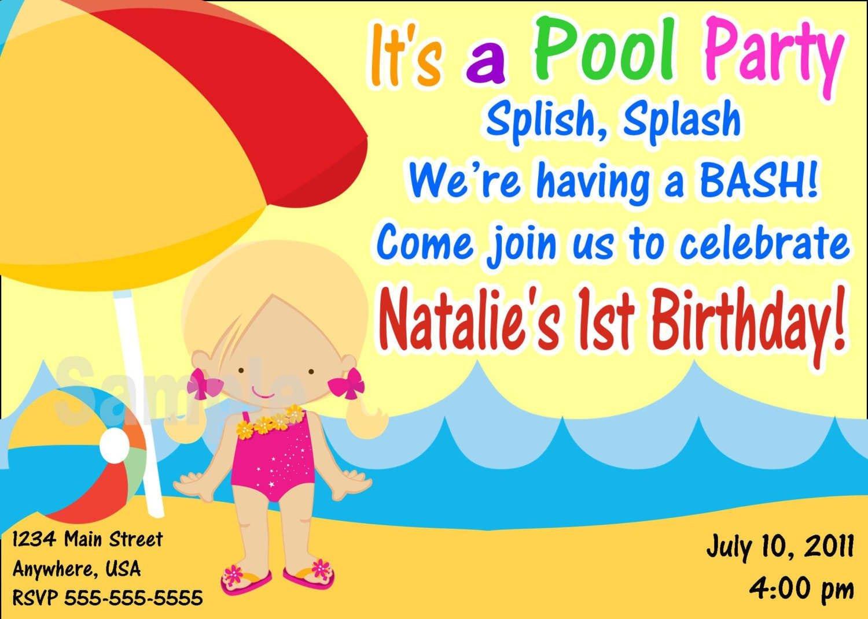 Pool Party Birthday Invitation Template