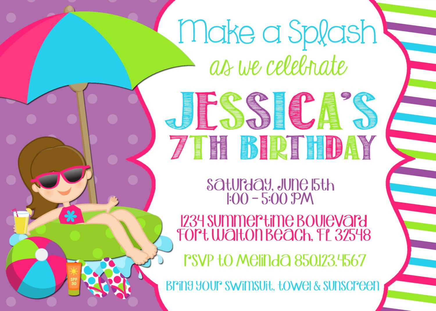 Pool Party Birthday Invitation Templates Free