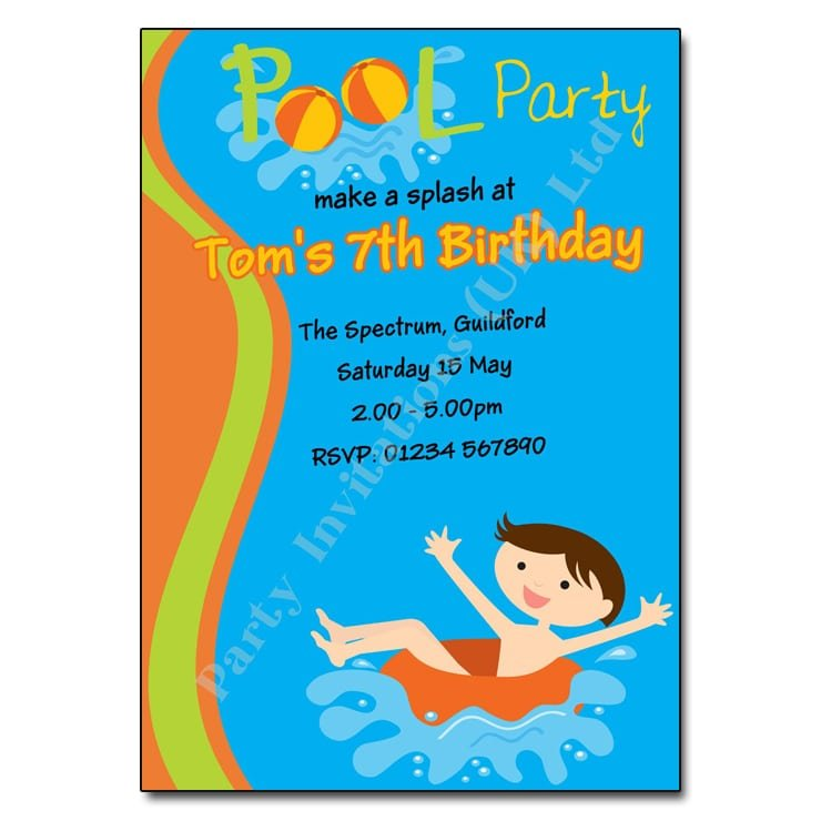 Pool Party Birthday Invitation Wording