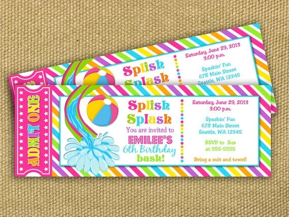 Pool Party Invitation Cards Free