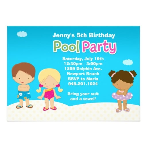 Pool Party Invitation For Kids