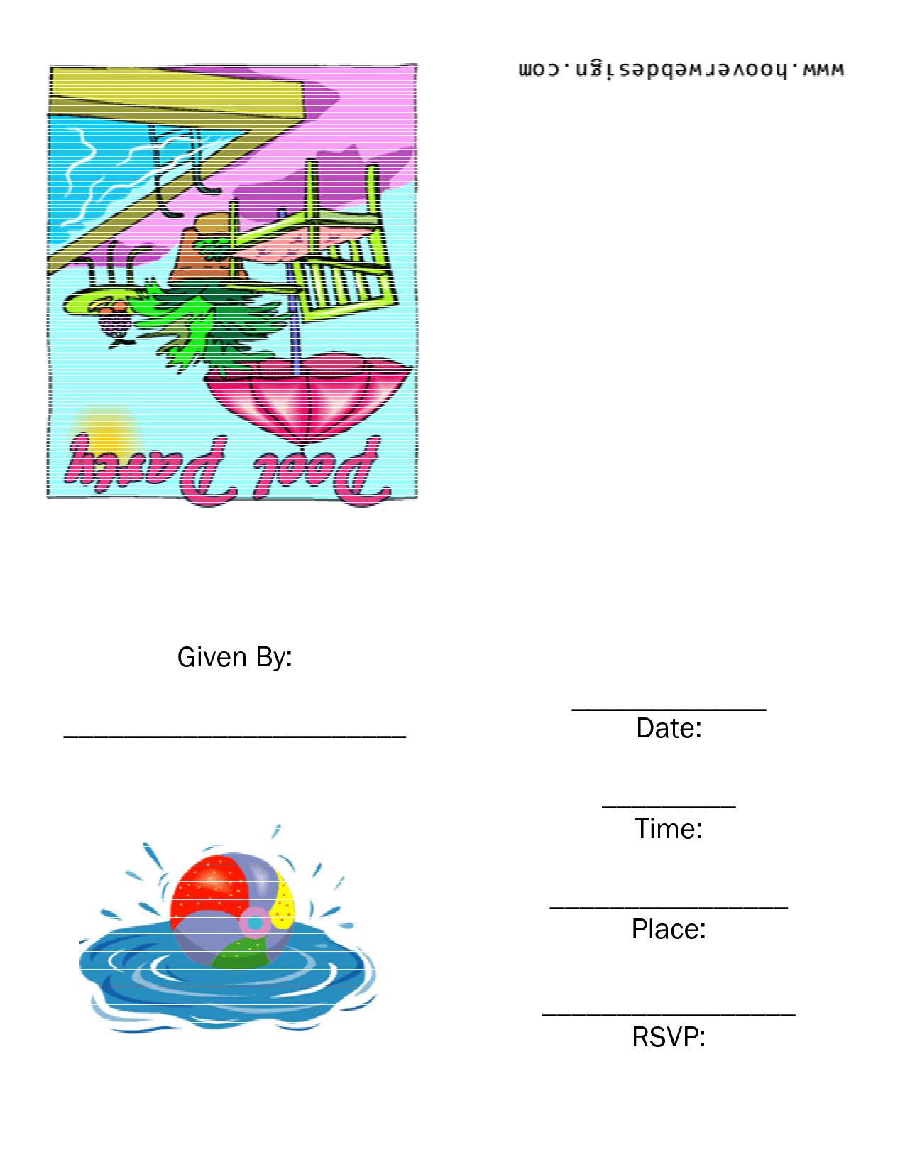 Pool Party Invitation Templates Free Printable