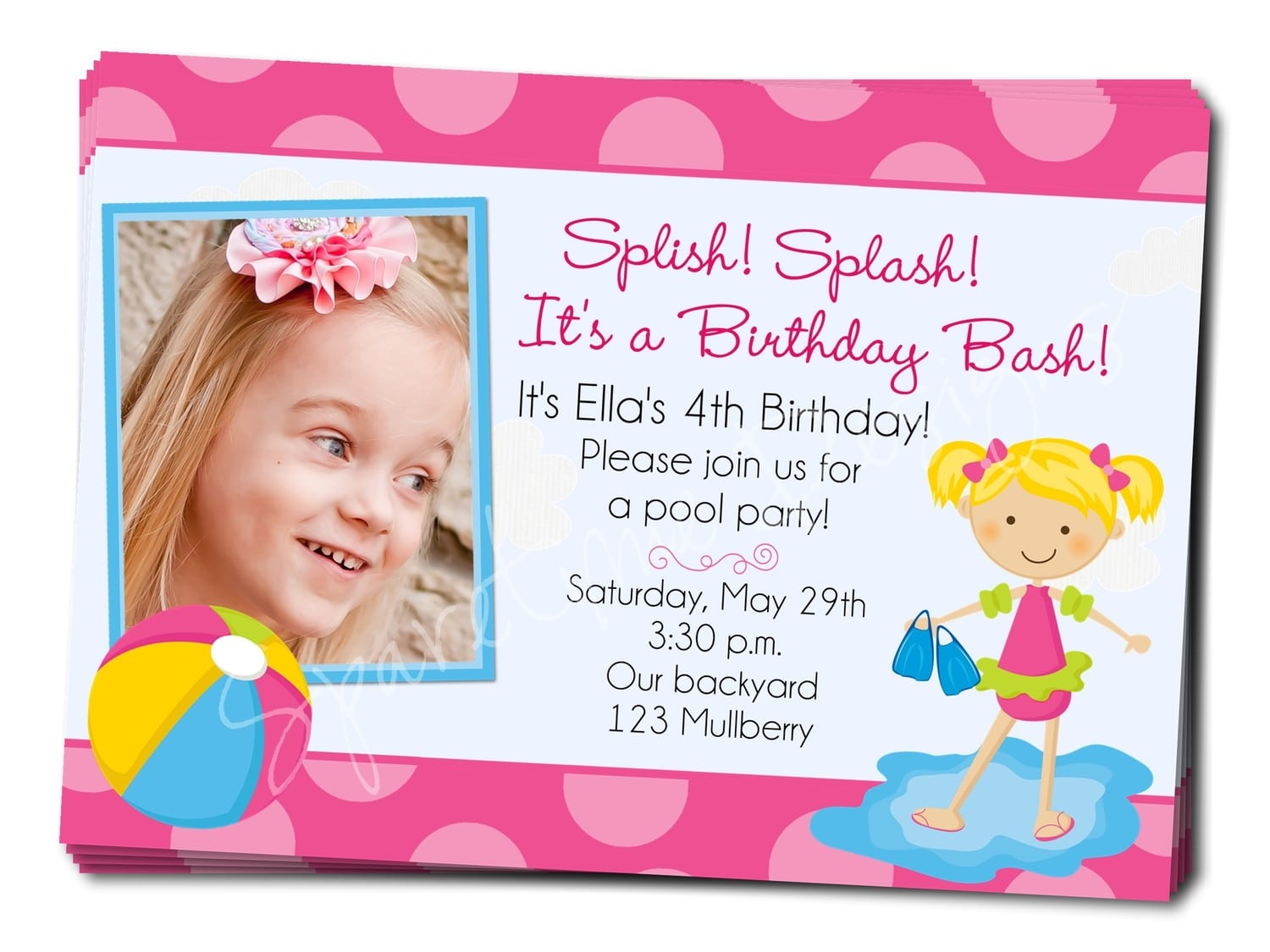 Pool Party Invitation Wording Kids