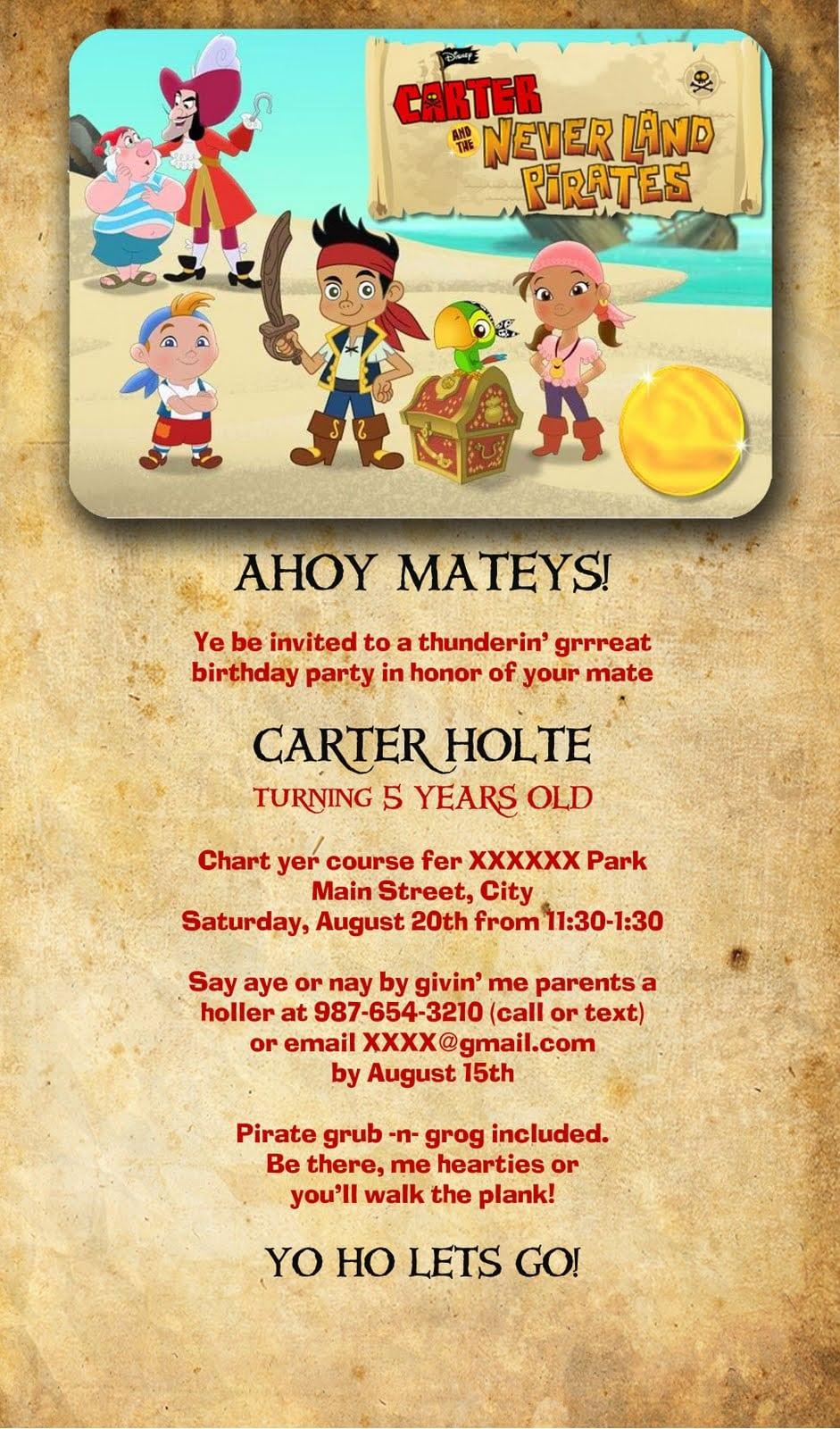 Princess Pirate Party Invitation Template