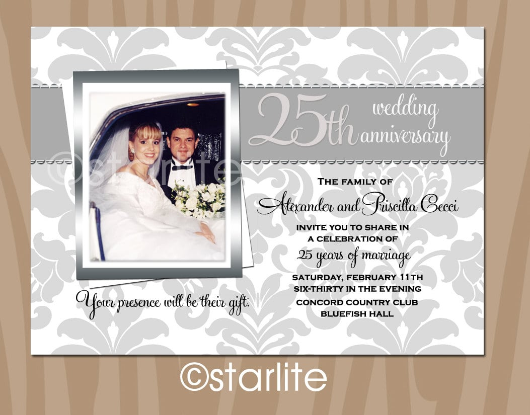 Printable 25th Wedding Anniversary Invitations