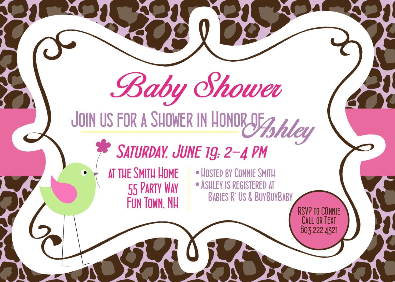 Printable Animal Print Baby Shower Invitations