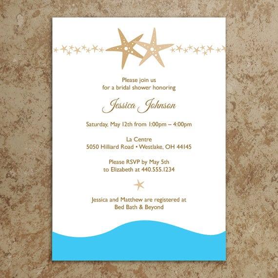 Printable Beach Bridal Shower Invitations