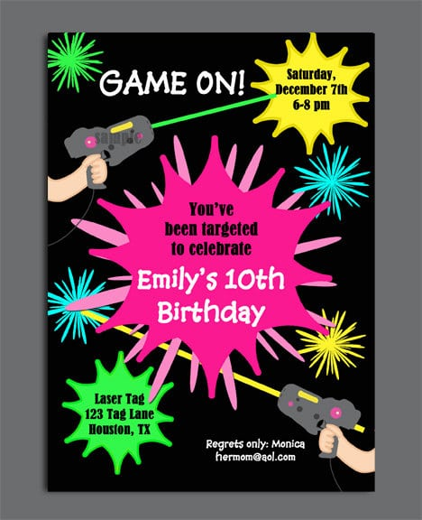 Printable Birthday Invitation For A Ten Year Old Laser Tag Template Download Free