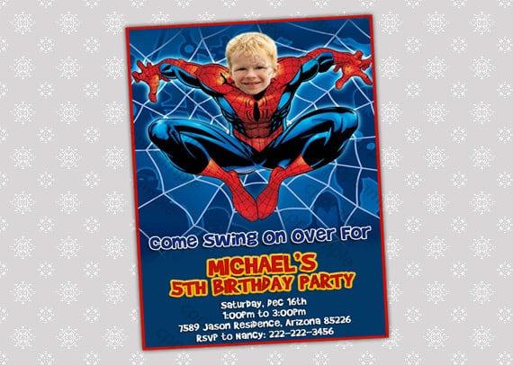 Printable Birthday Invitation Spiderman Face