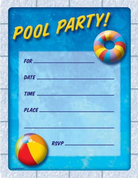 Printable Birthday Invitations Pool Party