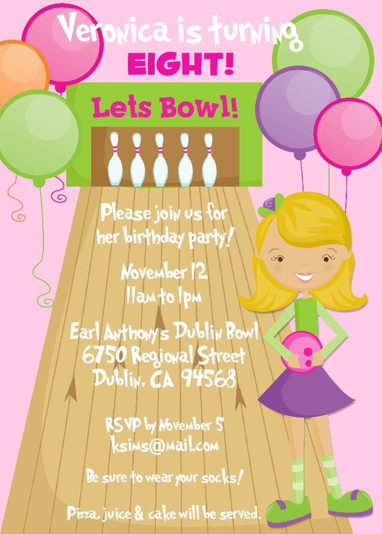 Printable Bowling Invitation Cards