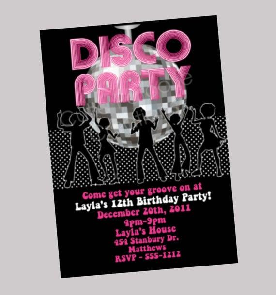 Printable Disco Party Invitations