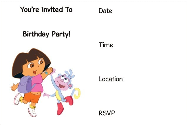 Printable Dora Invitation For Birthdays