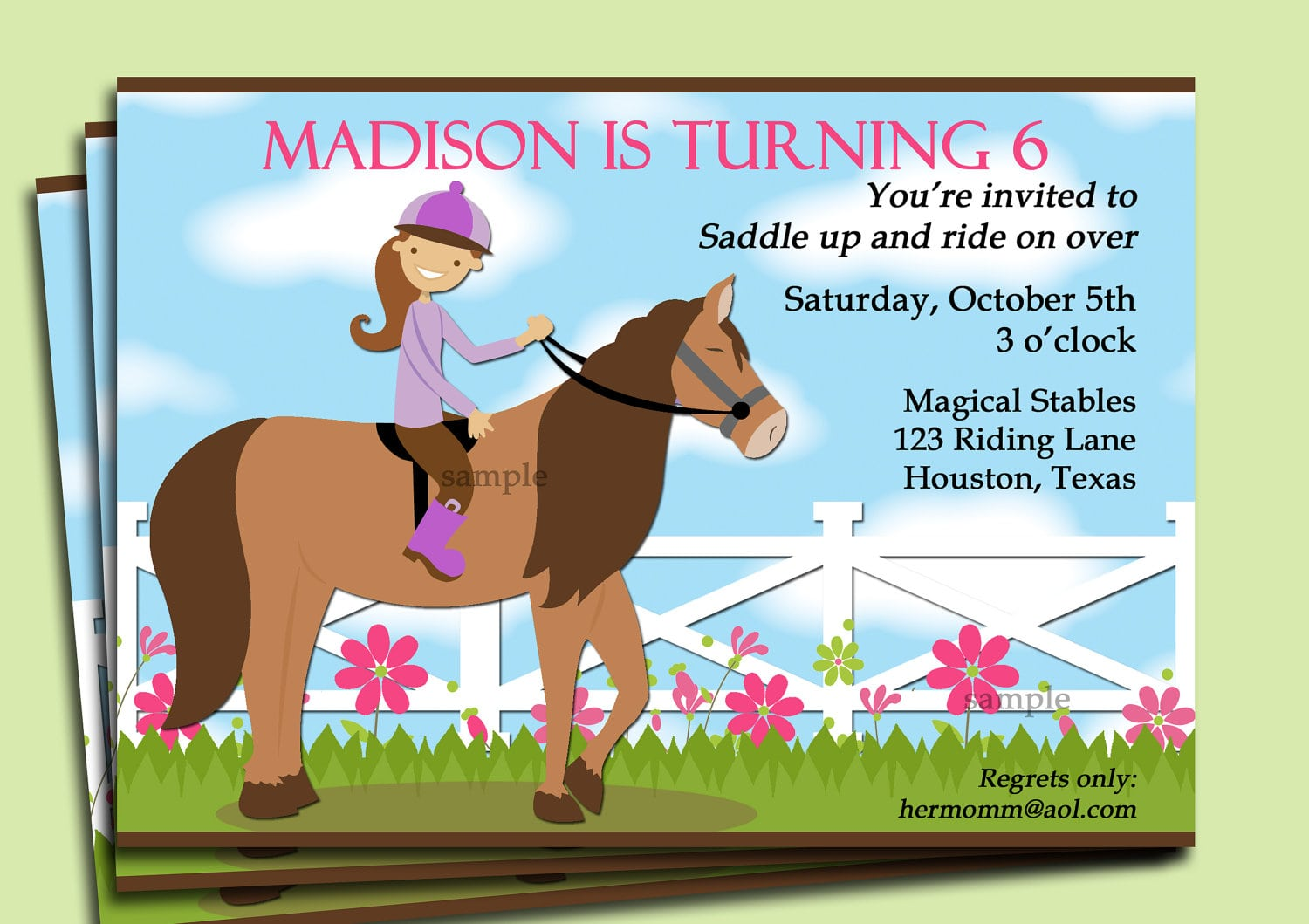 Printable Horse Party Invitations