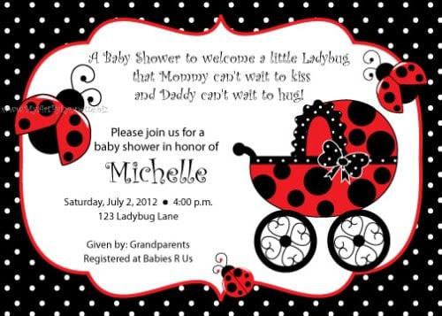 Printable Ladybug Baby Shower Invitations