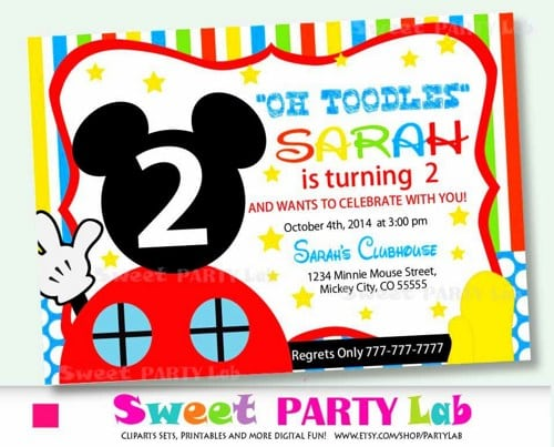 Printable Mickey Mouse Club Invitation