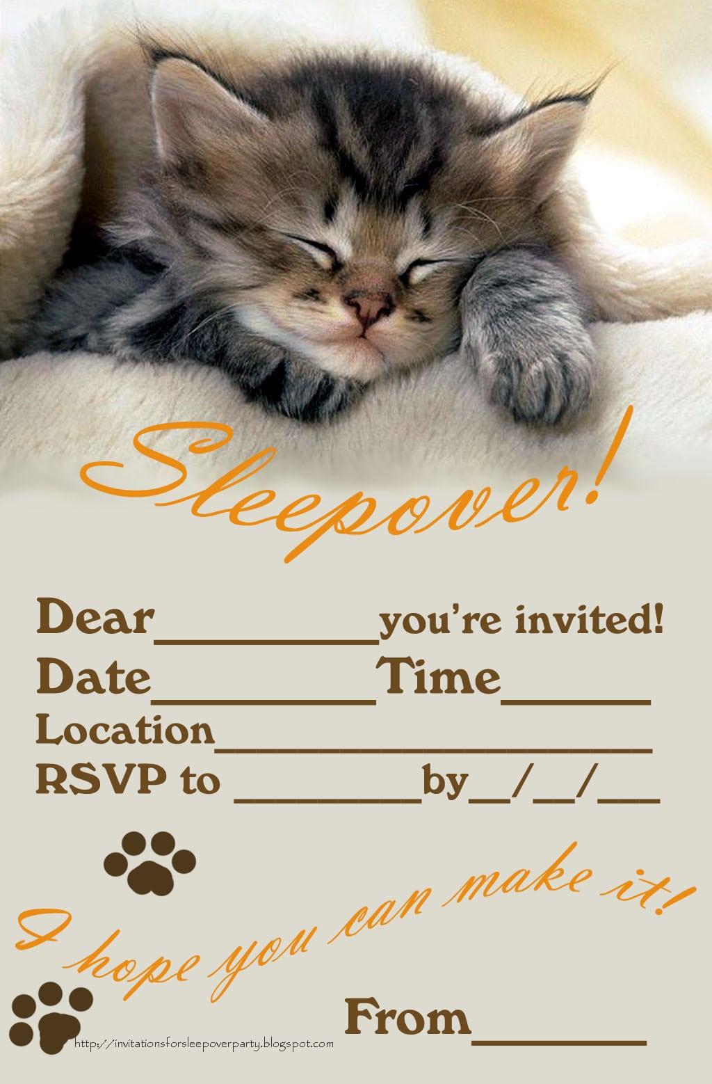 Printable Sleepover Party Invitations