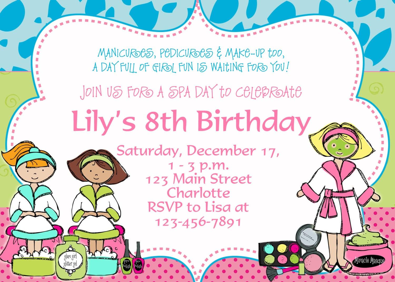 Printable Spa Birthday Invitations