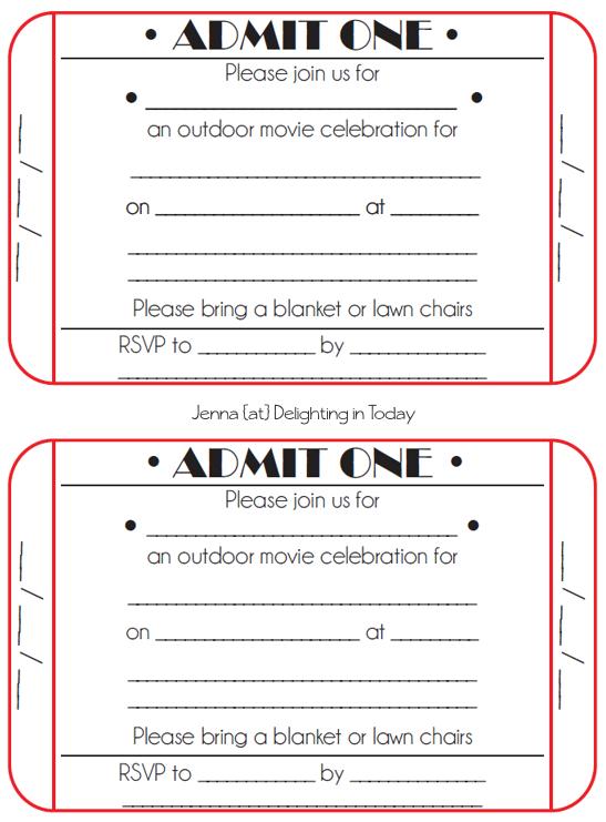 Printable Ticket Invitation Template