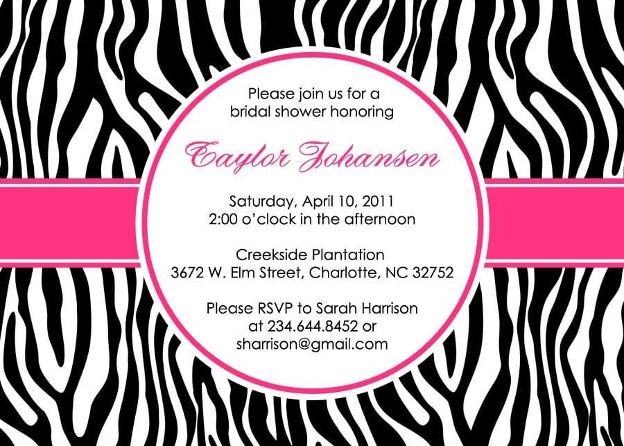 Printable Zebra Print Baby Shower Invitations