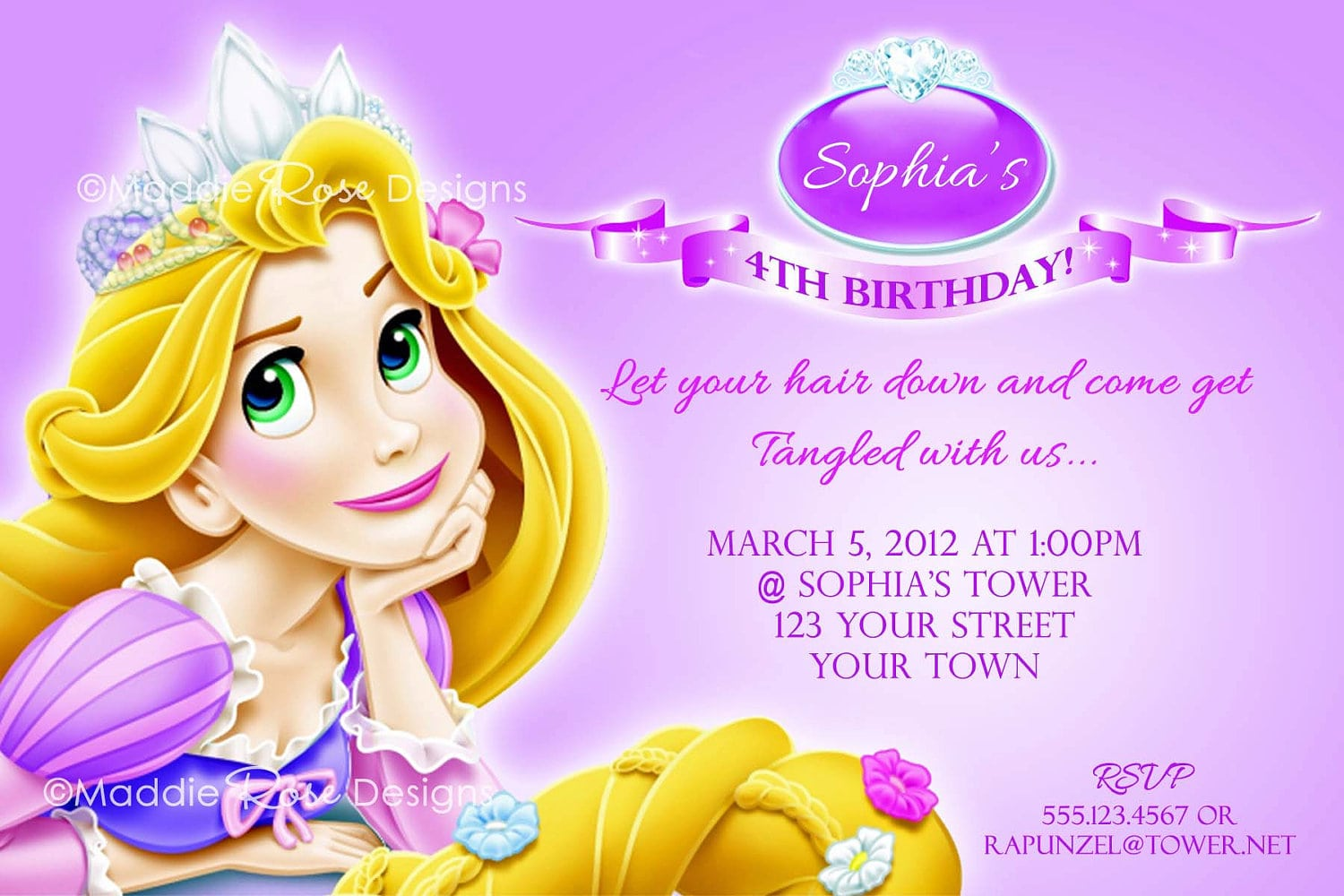 Rapunzel Birthday Invitation Cards