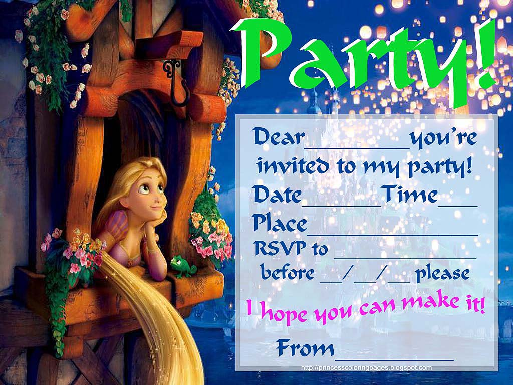 Rapunzel Birthday Invitations Free