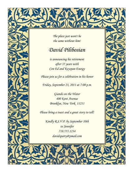 Retirement Invitation Wording Template