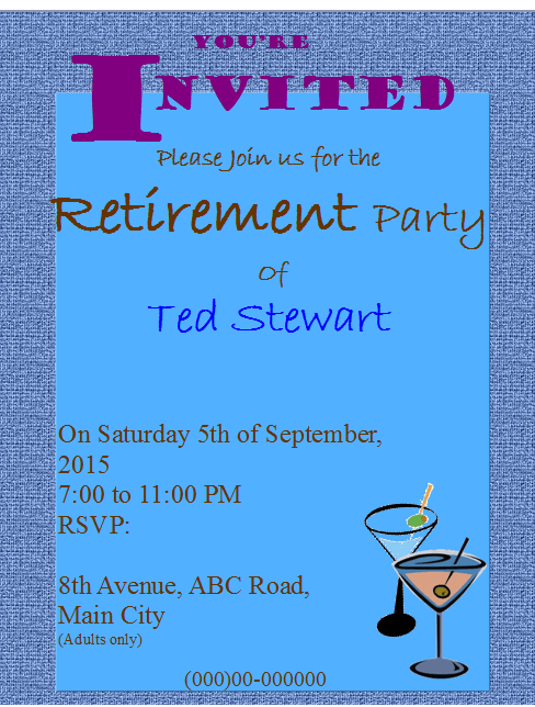Retirement party flyer invitation for Retirement announcement flyer template