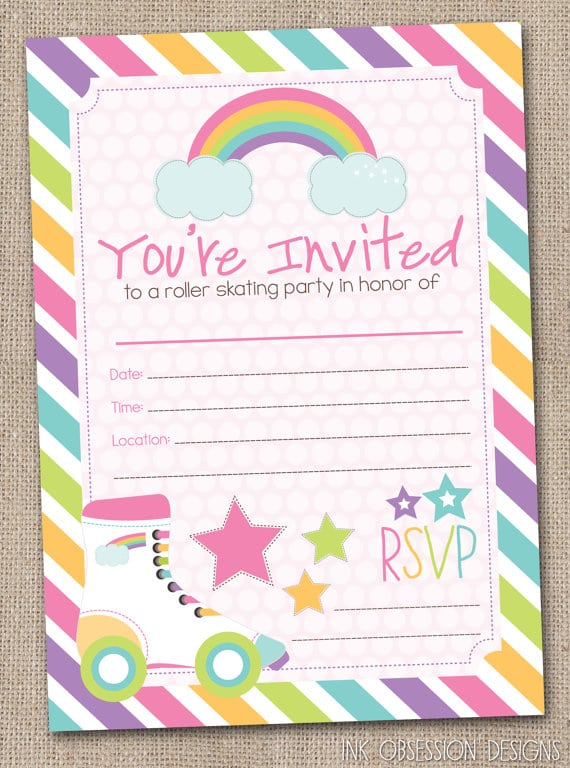 Roller Skating Party Invitations Printable