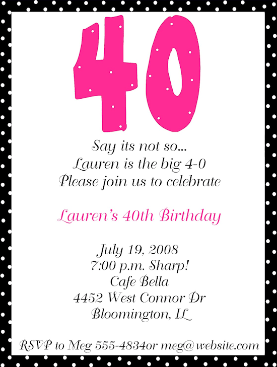Samples Of 40th Birthday Invitations Wording