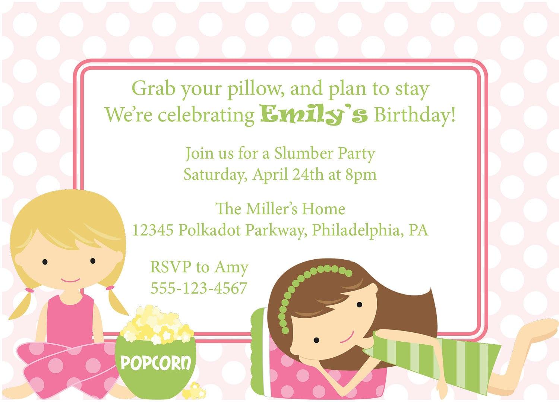 Slumber Party Invitation For 13 Year Girl Softball