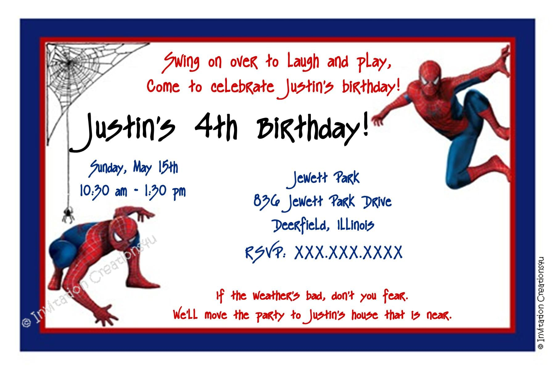 Spiderman Party Invitation Template