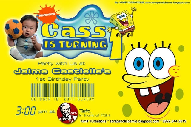 Spongebob Birthday Invitation Layout