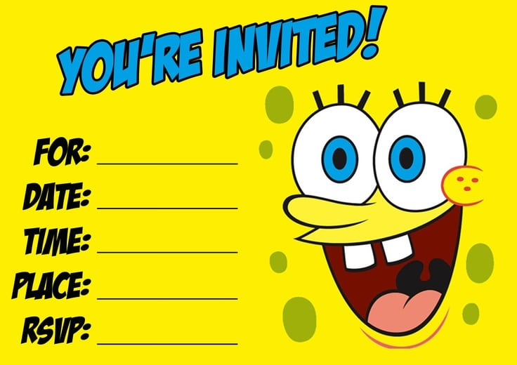 Spongebob Birthday Invitation Templates