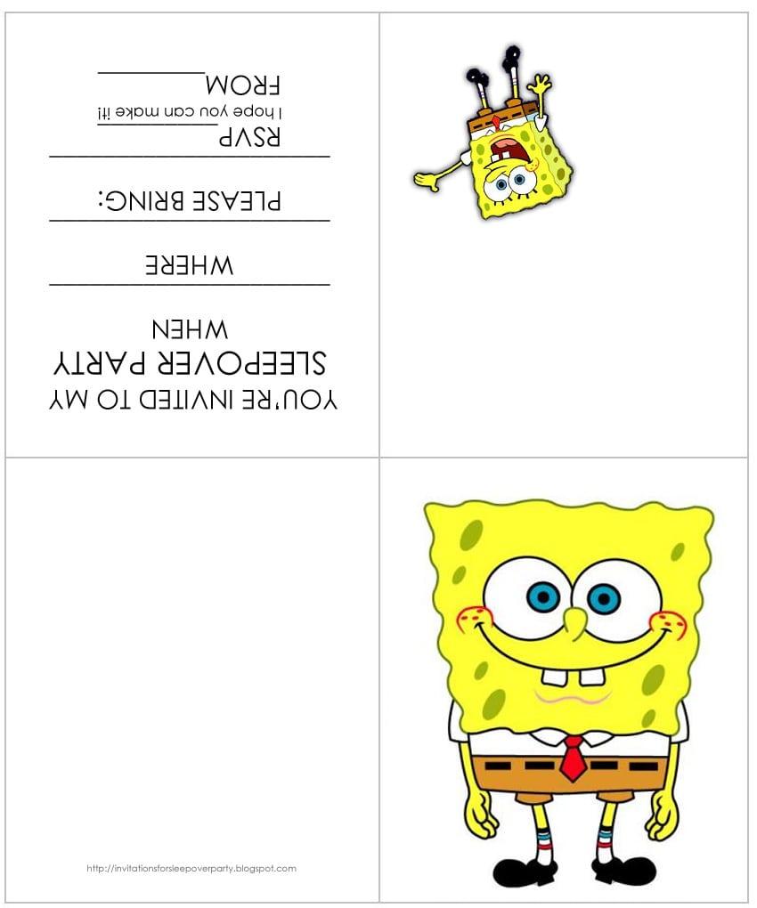 Spongebob Party Invitation Free Printable
